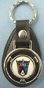 Vintage White Ford 50and039s Crest Mini Steering Wheel Leather Key Ring Key Fob