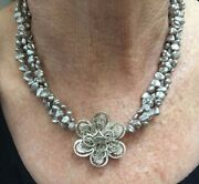 Estate Sale Sterling Silver Flower And Gray Freshwater Pearl 16.5 Necklace