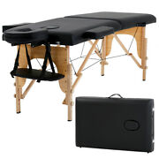 New Massage Table Spa Bed 73 Long Portable 2 Folding W/ Carry Case Black