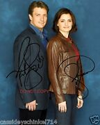 Castle The Abc Tv Show 8x10 Reprint Signed Photo 1 Rp Kate Beckett And Richard