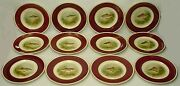 Fondeville China Game Fish Pattern Luncheon Plate 9-1/8 Set Of Twelve 12