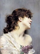 Oil Painting Giovanni Boldini - Profile Of A Young Woman Holding Purple Flower