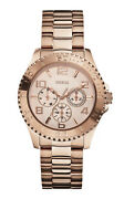 Guess Bff Multifunction Rose Gold Dial Stainless Steel Bracelet Ladies Watch