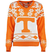 Tennessee Volunteers Women's Orange Ugly Christmas V-neck Sweater You Pick Size