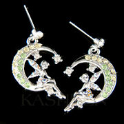 Green Tinkerbell Made With Crystal Tinker Moon Fairy Earrings Jewelry
