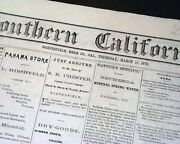 Rare Bakersfield Kern County Southern California Old West 1875 Newspaper W/ Ads