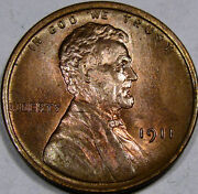 1911 Lincoln Cent Superb Gem Bu+...super Flashy And 95red A Real Blazer So Nice