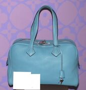 Hermes Victoria 35cm O Stamp Gorgeous Blue Jean Taurillon Clemence Leather Phw