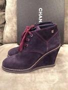 15b Suede Wedge Heel Chain Trim Lace Up Ankle Boots Shoes Navy Blue 1150