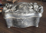 Antique 1920s Victor Silver Co Small Jewelry Or Trinket Box 2 1/2 Tall
