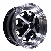 1964-1973 Ford Mustang 15 X 6 Magnum 400 Alloy Wheel, Gloss Black / Machined