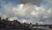 Oil painting Village Near Schiedam By Jacob Maris And Horseman By River Landscape