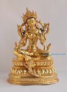Hand Carved Gold Face Painted Green Tara Copper Gold Gilded Statue Patan Nepal