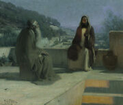 Oil painting Henry_ossawa_tanner Jesus And Nicodemus Figures In Landscape Canvas