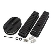 58-86 Sbc Chevy 350 Finned Black Coated Aluminum Valve Covers And Air Cleaner Kit