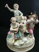 Antique Hertwig And Co. Germany Group Porcelain Figurinebeautiful Meissen Style