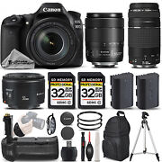 Canon Eos 80d Dslr Camera With 18-135mm Usm Lens + 75-300 Iii + 50mm 1.8 Andmore