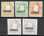 Acores Stamps 1868 5 Stamps Ovpt Specimen Ungas Issued Vf Scarce
