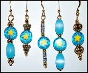 Turquoise Millefiori Yellow Star Earrings Gold Plate Usa Made Fast Ship. A15