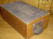 Antique Slide Top Grain Painted Wood Box - Kingsford Oswego Silver-gloss Starch