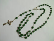 Chapel Sterling Silver Rosary With Green Glass Clover Beadscelticgreat Cnd