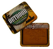 Walleye Fishing Embossed Leather Trifold Wallet With Gift Tin
