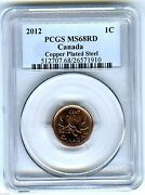 2012 Canada Cent Pcgs Ms68 Rd Magnetic Steel High Grade Last Year Of Issue Rare