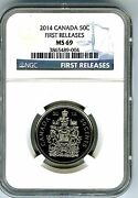 2014 Canada 50 Cent Half Dollar Ngc Ms69 First Releases... Super Rare