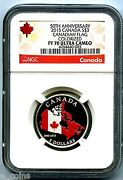 2015 Canada 3 Silver Proof Ngc Pf70 Ucam 50th Anniversary Canadian Flag Rare