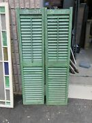 Pair C1900 Antique Victorian Louvered House Window Shutters Green 58 H X 14 W