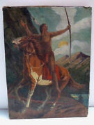 Vintage Native American Indian Brave Hunter With Bow Painting Artwork