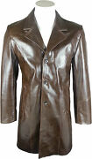 Unicorn Mens Classic Trench Coat - Real Leather Jacket - Brown Glaze Hl