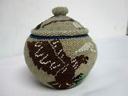 Antique Native American Paiute Indian Beaded Basket W Eagle Rabbit Warrior 5
