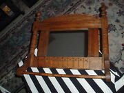 Antique Oak Wood Parlor Shaving Mirror Wall Hanging W/ Comb Tray And Towel Rack