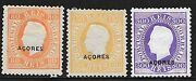 Acores Stamps 1882 Yv 42a+45a+46a P.12 1/2 Mlh Vf