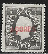 Acores Stamps 1871 Yv 17a P.12 1/2 Double Overprint Mlh Vf