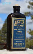 Large Antique Victor Gall Remedy Horse And Veterinary Bottle Embossed Labeled