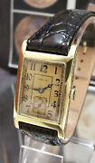 Vintage Antique C1925 Zenith Solid 18k Gold Deco Watch Serviced + Box And Plaque