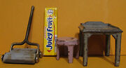 3 Vintage Kilgore Old Cast Iron Toys, Sweeper Utility Table And Small Stool T444
