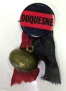 Vintage Duquesne Dukes College Football Pin Button Charm And Ribbon Pittsburgh