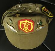 Russian Soviet Military Hat Lots Of Patches Badge Pin Medals Tank Rifle Star Gun