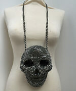 Butler And Wilson Xxl Pewter Crystal Skull Head Pendantnecklace Newcouture Only1