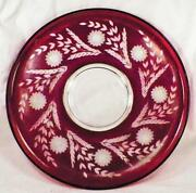 Bohemian Art Glass Tray Ruby Stained Cut Flowers Large Round Vintage A Beauty