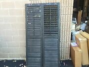 Pair Late Victorian Louvered House Window Shutters 71.5 X 19 W Black Paint