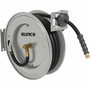 Klutch Auto-rewind Air Hose Reel - With 3/8in. X 50ft. Rubber Hose 300 Psi