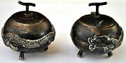 Antique Chinese .900 Silver Salt And Pepper Dragon Tripod Containers Signed