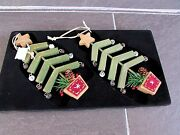 Primitive Wooden Christmas Tree Ornaments W/ Rustic Bells Set Of 2 By Dillardand039s