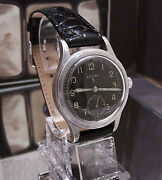 Antique Vintage C'45 Record Www Black Dial Military Watch Ww2 Serviced And Working