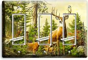 Whitetail Deer Buck Antlers Triple Gfci Light Switch Wall Plate Cover Home Decor