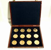 Sir Rowland Hill, Dutch Mint 12 Unc Gold Plated Medals In Wooden Case, Famous...